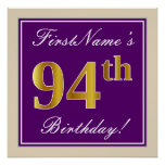[ Thumbnail: Elegant, Purple, Faux Gold 94th Birthday + Name Poster ]