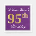 [ Thumbnail: Elegant Purple, Faux Gold 95th Birthday + Name Paper Napkin ]