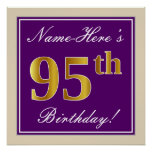 [ Thumbnail: Elegant, Purple, Faux Gold 95th Birthday + Name Poster ]