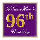 [ Thumbnail: Elegant, Purple, Faux Gold 96th Birthday + Name Invitation ]