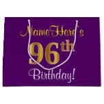 [ Thumbnail: Elegant, Purple, Faux Gold 96th Birthday + Name Gift Bag ]