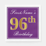 [ Thumbnail: Elegant Purple, Faux Gold 96th Birthday + Name Paper Napkin ]