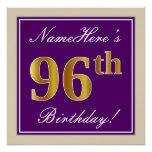 [ Thumbnail: Elegant, Purple, Faux Gold 96th Birthday + Name Poster ]