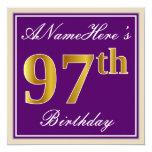 [ Thumbnail: Elegant, Purple, Faux Gold 97th Birthday + Name Invitation ]