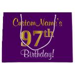 [ Thumbnail: Elegant, Purple, Faux Gold 97th Birthday + Name Gift Bag ]