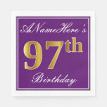 [ Thumbnail: Elegant Purple, Faux Gold 97th Birthday + Name Paper Napkin ]