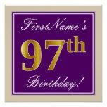[ Thumbnail: Elegant, Purple, Faux Gold 97th Birthday + Name Poster ]