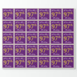 [ Thumbnail: Elegant, Purple, Faux Gold 97th Birthday + Name Wrapping Paper ]