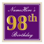[ Thumbnail: Elegant, Purple, Faux Gold 98th Birthday + Name Invitation ]