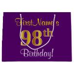 [ Thumbnail: Elegant, Purple, Faux Gold 98th Birthday + Name Gift Bag ]