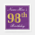 [ Thumbnail: Elegant Purple, Faux Gold 98th Birthday + Name Napkin ]