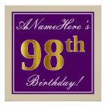 [ Thumbnail: Elegant, Purple, Faux Gold 98th Birthday + Name Poster ]