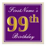 [ Thumbnail: Elegant, Purple, Faux Gold 99th Birthday + Name Invitation ]