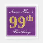 [ Thumbnail: Elegant Purple, Faux Gold 99th Birthday + Name Napkin ]