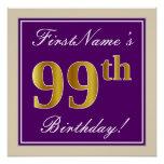 [ Thumbnail: Elegant, Purple, Faux Gold 99th Birthday + Name Poster ]