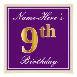 [ Thumbnail: Elegant, Purple, Faux Gold 9th Birthday + Name Invitation ]