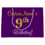 [ Thumbnail: Elegant, Purple, Faux Gold 9th Birthday + Name Gift Bag ]