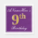 [ Thumbnail: Elegant Purple, Faux Gold 9th Birthday + Name Napkin ]