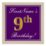 [ Thumbnail: Elegant, Purple, Faux Gold 9th Birthday + Name Poster ]