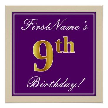 Art Themed Elegant, Purple, Faux Gold 9th Birthday   Name Poster