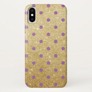 elegant purple faux gold glitter polka dots iPhone XS case