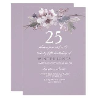 Elegant Purple Floral 25th Birthday Party Invite