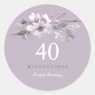 Elegant Purple Floral 40th Birthday Party Classic Round Sticker