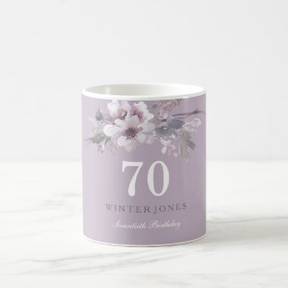 Elegant Purple Floral 70th Birthday Party Gift Coffee Mug