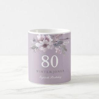 Elegant Purple Floral 80th Birthday Party Gift Coffee Mug