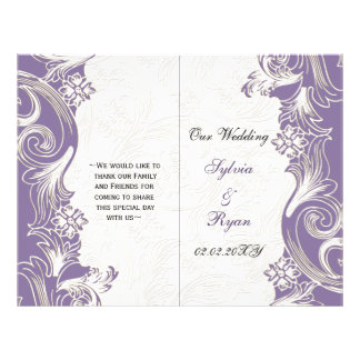 "Elegant purple floral bi fold Wedding program 8.5"" X 11"" Flyer"