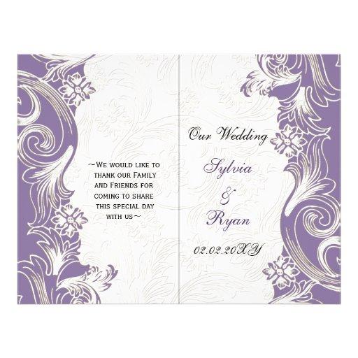Elegant purple floral bi fold Wedding program Flyers