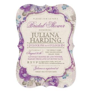 Elegant Purple Floral Bridal Shower Invitation