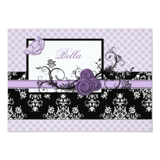 elegant purple floral  Business Thank You Cards Personalized Invitation