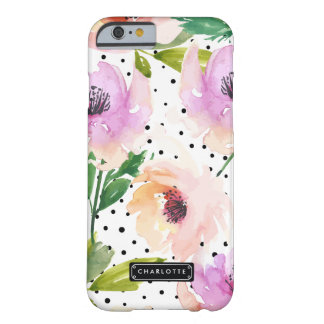 Elegant Purple Floral Dalmatian Dots Personalized Barely There iPhone 6 Case