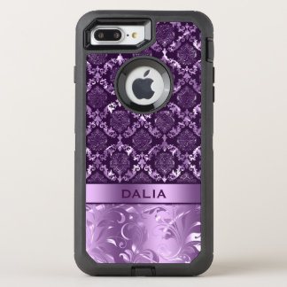 Elegant Purple Floral Damask Metallic Texture OtterBox Defender iPhone 7 Plus Case