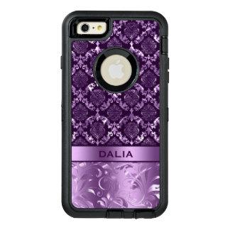 Elegant Purple Floral Damask Metallic Texture OtterBox Defender iPhone Case
