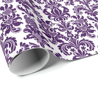 Elegant Purple Floral Damasks White Background Wrapping Paper
