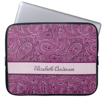 Elegant Purple Floral Paisley Pattern With Name Computer Sleeve