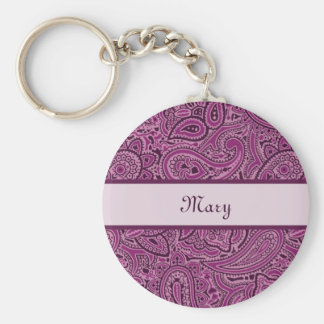 Elegant Purple Floral Paisley Pattern With Name Keychain