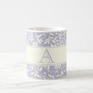 Elegant Purple Floral Pattern Custom Monogram Mug