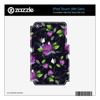 elegant  purple floral pattern,Multi products sele Decals For iPod Touch 4G