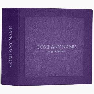 Elegant Purple Floral Pattern Suede Leather Look Binder