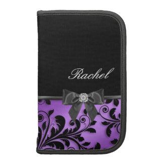 Elegant Purple Floral Folio Planner