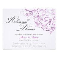 Elegant Purple Floral Rehearsal Dinner Invitation