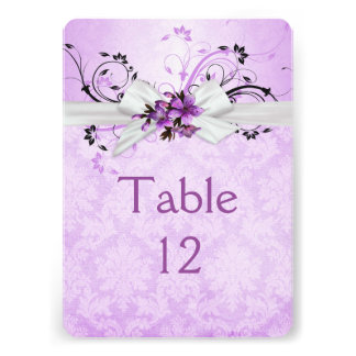 Elegant Purple Floral Ribbon Damask Table card