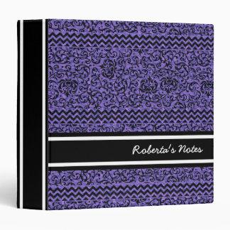 Elegant Purple Floral Tudor Damask 3 Ring Binder