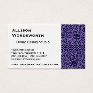 Elegant Purple Floral Tudor Damask Business Card