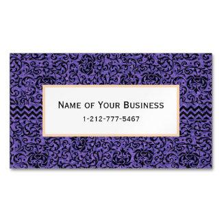 Elegant Purple Floral Tudor Damask Magnetic Business Card