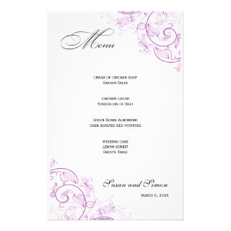 Elegant Purple Floral Wedding Menu