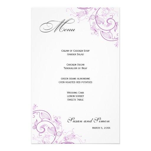 Elegant Purple Floral Wedding Menu Customized Stationery